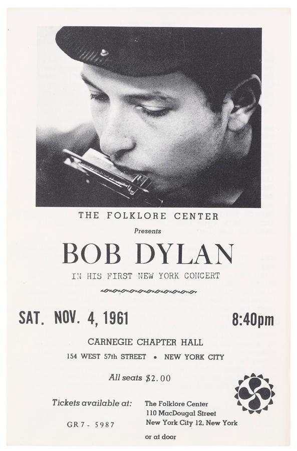 Primeiro concerto de Bob Dylan em NY