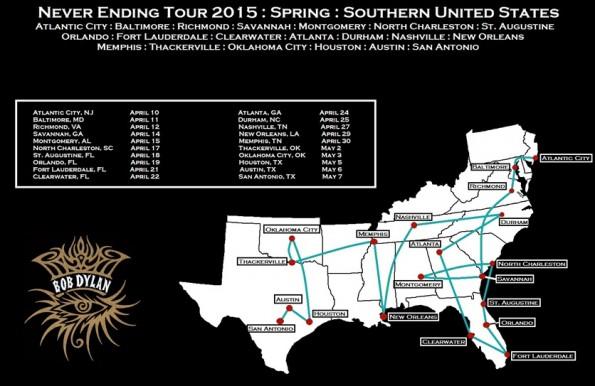(O mapa está desatualizado, mas é legal para ter uma noção da extensão da turnê, que prioriza a região sul dos EUA)