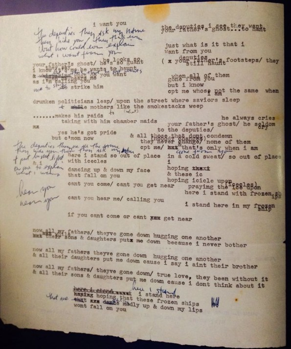 "Manuscrito de ""I Want You"""